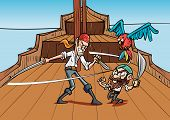 stock photo of pirates  - Catoon pirates dueling on a pirate shirt - JPG