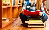 Woman Student In College Library poster