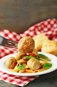 image of meatball  - Pasta with meatballs on plate - JPG
