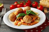 picture of meatball  - Pasta with meatballs on plate - JPG