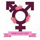 stock photo of transgendered  - illustration of beautiful transgender symbol with ribbon for LGBT - JPG