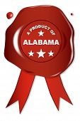 stock photo of alabama  - A wax seal with a the text A Product of Alabama - JPG