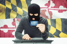 pic of maryland  - Hacker with US state flag on background  - JPG