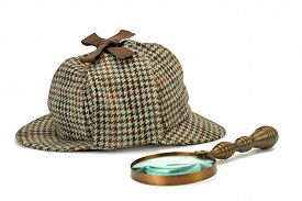picture of investigation  - Sherlock Holmes Deerstalker Cap And Vintage Magnifying Glass Isolated On White Background - JPG