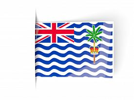 pic of indian flag  - Square label with flag of british indian ocean territory isolated on white - JPG