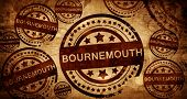 Bournemouth, vintage stamp on paper background poster