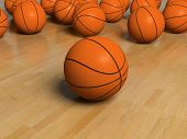 basketbal bal spel over de witte bachground (3D)