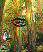 Inside the Cathedral of Santa Eulalia in Barcelona's Barri Gotic district(anaglyph stereo effect.nee