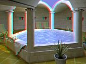 modern hotel spa interior (3D anaglyph effect. to view - need stereo glasses)