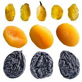 Dried fruits collection on the white background (isolated).
