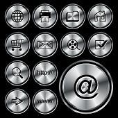 WEB round metal icon button.