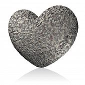 pic of loveless  - Stony heart on white background - JPG