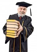 Professor with stack books on white background (isolated).