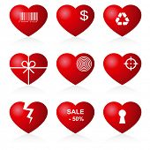 Icon hearts on white background.