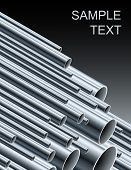 Stack of steel tubing (vector illustration).