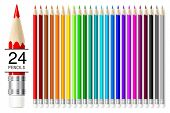 Realistic vector pencils set isolated on white background.