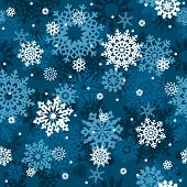White snowflakes on blue background seamless pattern - vector background for continuous replicate.