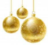 Golden realistic vector Christmas balls set.