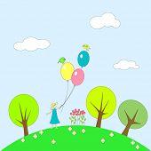 Little girl with balloons on grassy plot.