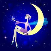 Chica guapa como elf alado se sientan en la luna.