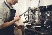 Coffee Machine Barista Grinder Steam Cafe Concept poster