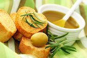 baguette and olive oil - delicious snack - food and drink