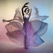 Постер, плакат: Art fashion studio photo of beautiful elegant woman in blowing dress Flying dress Freedom concept