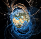 stock photo of eastern hemisphere  - Earth emanating an aura of energy fields - JPG