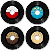 45 RPM records. Make your own music labels. Ultra-clean photo-real Illustrations.