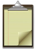 pic of stenography  - Pages of yellow legal ruled notebook pad paper  - JPG