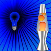 A psychedelic blacklight background with red orange lava lamp, 60's 70's on blue rays.