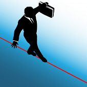 A business man balances with a briefcase, walks a high wire tightrope, above risk and danger, blue background.