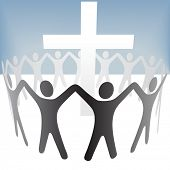 A group of people circle around a cross, hold up their hands. Included a clipping path of the people