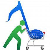 Una persona símbolo compra música para descargar en línea en un icono de carro de compras.