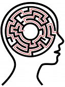 A circle radial maze puzzle as a brain in a profile person's head outline.