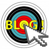 A pixel arrow cursor clicks on a target market blog topic.