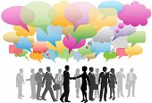 image of business meetings  - Business social media people network in a cloud of company speech bubbles colors - JPG