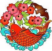 Chinese Lucky Sign (Carp Fish Design) (Vector)