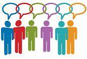 Social media people talk in speech bubble chain of links.