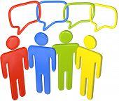 People in colors talk social media in 3D speech bubbles linked in a chain