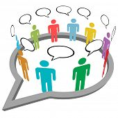Inner circle business people talk meet in a social media network speech bubble