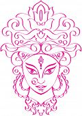 Calligraphic Durga Indian Goddess ornamental design