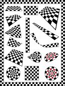 Checker, Race Flag, Chessboard, Dart board various designs, frame