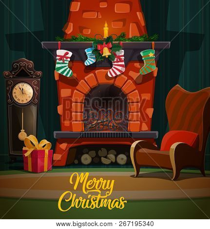 Christmas Fire Place Images.Christmas Fireplace In Room Interior With Xmas And New Year Winter Holidays Gifts Santa Stockings A Poster