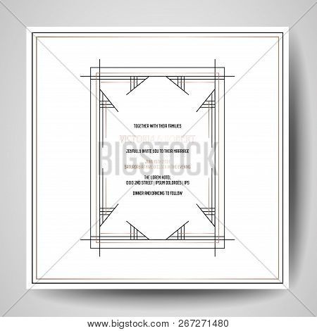 Art Deco Wedding Invitations.Art Deco Wedding Invitation Luxury Save The Date Card With Gold Geometric Frame Vector Trendy Cove Poster