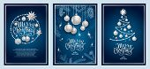 Set Of Three Card Merry Christmas And Happy New Year. Christmas Tree, Silver Glass Balls, Stars, Seq poster
