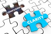 Clarity Vs Confusion Puzzle Pieces Words 3d Illustration poster