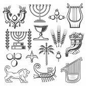 Judaism Symbols Monochrome Vector Icons. Cornucopia And Goblet, Pomegranate And Menorah, Laurel Bran poster