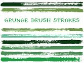 Ink Brush Strokes Isolated Design Elements. Set Of Paint Lines. Cool Stripes, Textured Paintbrush St poster