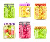 Preserved Fruits And Vegetables In Jars Set. Greek Olives, Pineapple Rings, Sweet Apricots, Cucumber poster